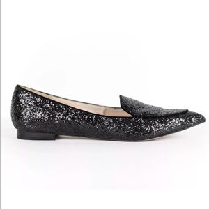 Sole Society Black Glitter Cammila Smoking Loafer